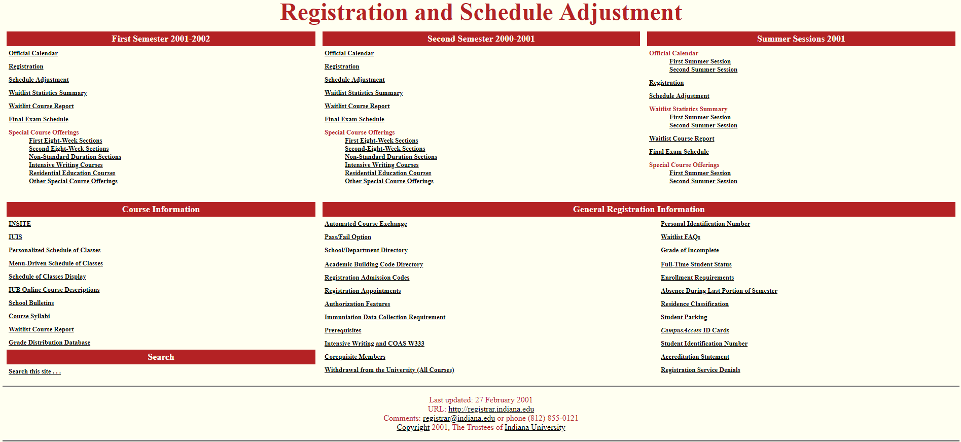 Screenshot of IU's first web-enable course interface