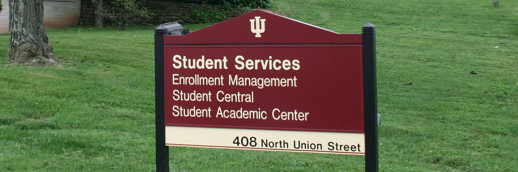 Student Services Building location signage.